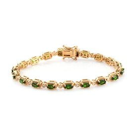 Russian Diopside and Natural Cambodian Zircon Bracelet (Size 7) in 14K Gold Overlay Sterling Silver
