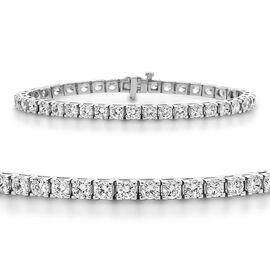 14K White Gold EGL CERTIFIED Diamond (Rnd) (I2-I3 F-H) Bracelet (Size 8.25) 11.500 Ct, Gold wt 20.00
