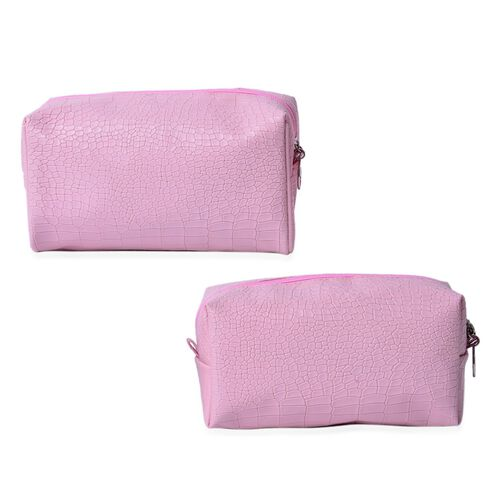Set of 2 - Pink Colour Crocodile Pattern Large Cosmetic Bag (Size 21x11x8 Cm) and Small Cosmetic Bag (Size 19x9x8 Cm)