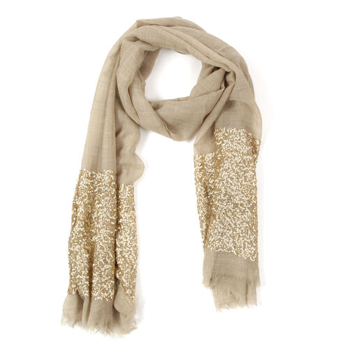 Italian Designer Inspired- Limited Available HAND Stitched Beige Colour Jacquard Sequin Border Shawl