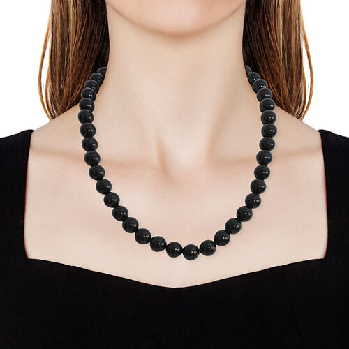 Very Rare Size Black Agate (Rnd 12mm) Necklace (Size 20) with Magnetic Clasp in Rhodium Plated Sterling Silver.Total Wt 406 Cts.