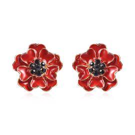 Poppy Design Red and Black Enamelled Poppy Flower Stud Earrings with Push Back in Gold Tone