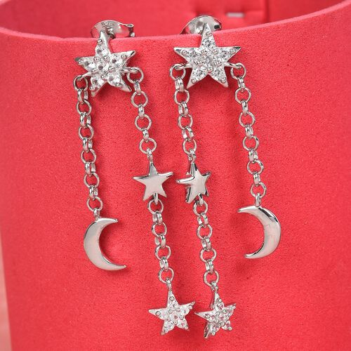Natural Cambodian Zircon Moon Star Dangle Earrings (with Push Back) in Platinum Overlay Sterling Sil