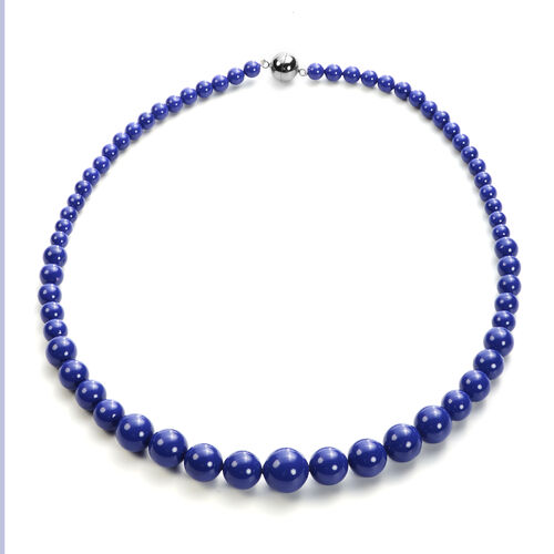 3 Piece Set - Tanzanite Colour Shell Pearl Stretchable Bracelet (Size 7), Necklace (Size 20 with Magnetic Lock) and Earrings (with Push Back) in Stainless Steel