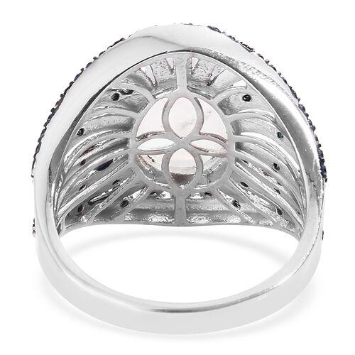 Designer Inspired Sri Lankan Rainbow Moonstone (Ovl 4.75 Cts), Blue Diamond (Rnd 0.25 Cts) Ring in Platinum Overlay Sterling Silver 5.000 Ct. Silver wt 6.33 Gms.