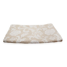 Egyptian Cotton King Size Pique Bedcover with Big Woven Flowers, Made in Portugal (Size 240X260 cm) - Beige