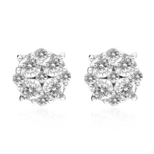 9K White Gold SGL Certified Natural Diamond (I3/G-H) Stud Earrings 1.00 Ct.