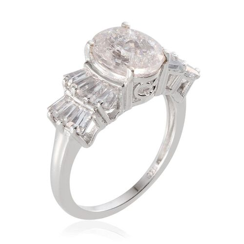 White Crackled Quartz (Ovl 3.00 Ct), White Topaz Ring in Platinum Overlay Sterling Silver 5.500 Ct.