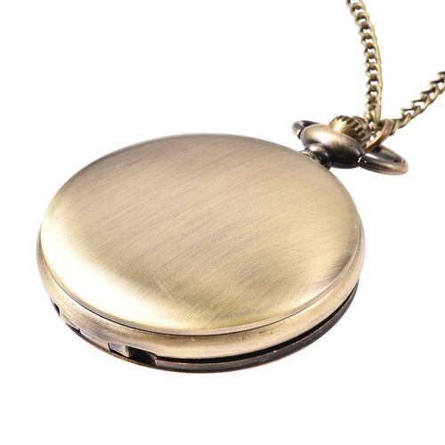 STRADA Japanese Movement Woman Pattern Pocket Watch with Chain (Size 31) in Antique Bronze Tone