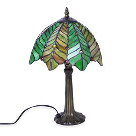Luxury Edition - Tiffany Style Table Lamp with Stained Glass Mosaic Shade in Palm Tree Shape (Size 25 cm diameter x 40 cm H)
