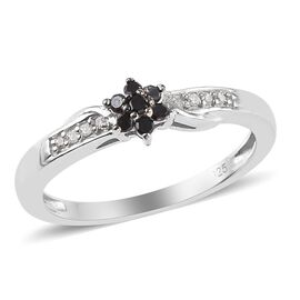 0.10 Carat Black And White Diamond Floral Stacker Ring in Platinum Overlay Sterling Silver