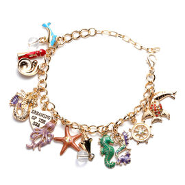 Charms De Memoire - Simulated White Topaz and Multi Colour Austrian Crystal Multi-Charm Enamelled Cu