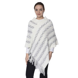 Knit Poncho with Beads (54x70cm) - White and Grey
