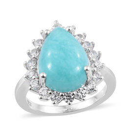 6 Carat Peruian Amazonite and Natural Cambodian Zircon Halo Ring in Platinum Plated Sterling Silver