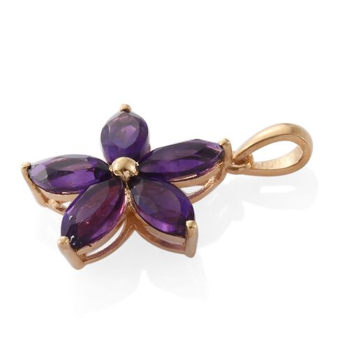 Amethyst 2.50 Ct Silver Flower Star Pendant in Gold Overlay