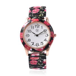 STRADA Japanese Movement Water Resistant Floral Printed Watch  in Rose Gold Tone - Black