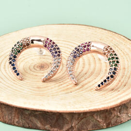 Simulated Multi Gemstone Crescent Moon Earrings (with Push Back) in Rose Gold Tone
