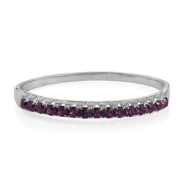 J Francis - Crystal from Swarovski Amethyst Colour Crystal (Rnd) Bangle (Size 7.5) in Stainless Steel