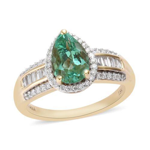 ILIANA 2 Carat AAA Boyaca Colombian Emerald and Diamond Halo Ring in 18K Yellow Gold SI GH
