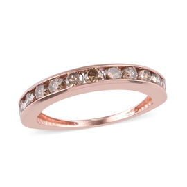 9K Rose Gold SGL Certified Champagne Diamond (I2) Band Ring 1.00 Ct.