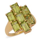 Hebei Peridot (Oct) Ring (Size N) in Yellow Gold Overlay Sterling Silver 6.810  Ct.