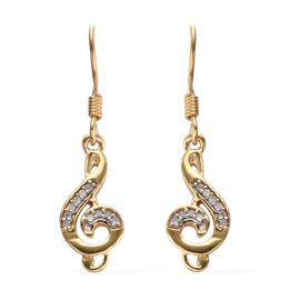 0.10 Carat Diamond Musical Note Hook Earrings in 14K Gold Overlay Sterling Silver