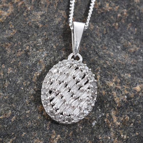 Designer Inspired- Diamond (Bgt) Oval Pendant With Chain in Platinum Overlay Sterling Silver 0.250 Ct.