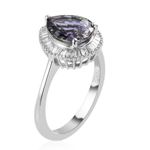 RHAPSODY 950 Platinum AAAA Peacock Tanzanite and Diamond Halo Ring 4.00 Ct.