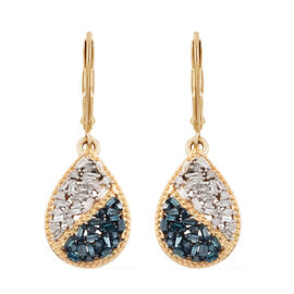 Blue and White Diamond (Bgt) Lever Back Drop Earrings in 14K Gold and Platinum Overlay with Blue Pla
