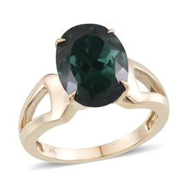 9K Yellow Gold AA Ocean Blue Apatite (Ovl) Solitaire Ring 5.750 Ct.