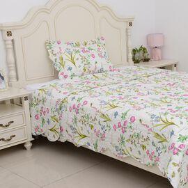 2 Piece Set  - Floral Pattern Quilt (Size 240x180 Cm) and Pillow Case (Size 50x70+5 Cm)