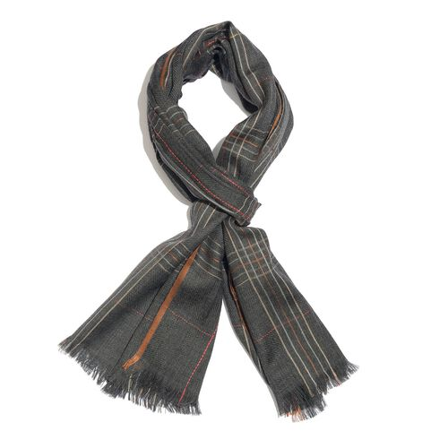 92% Merino Wool and 8% Silk Dark Grey, Brown and Multi Colour Checks Pattern Scarf with Fringes (Size 180X70 Cm)