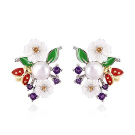 Jardin Collection - White Mother of Pearl, Freshwater Pearl, Amethyst and Citrine Enameled Earrings