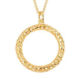 RACHEL GALLEY Lattice Circle Pendant with Chain in Gold Plated Silver 12.47 Grams Size 30 Inch