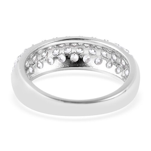 J Francis - Rhodium Overlay Sterling Silver Three Row Half Eternity Ring Made with SWAROVSKI ZIRCONIA