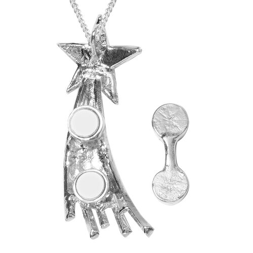 Austrian Mystic White Crystal (Rnd) Shooting Star Brooch Pendant With Chain (Size 24) in Stainless Steel