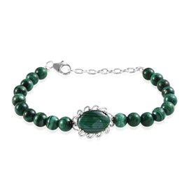 Malachite (Ovl 14x10 mm) Bead Bracelet (Size 7.5 with Extender) in Sterling Silver 45.50 Ct, Silver