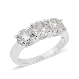 2.50 Ct Diamond Trilogy Ring in 14K White Gold 3.40 Grams IGL Certified I1 I2 GH