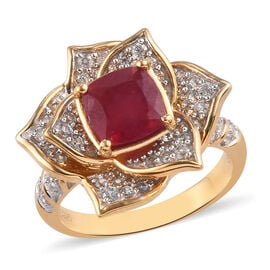 GP AA African Ruby and Natural Cambodian Zircon and Blue Sapphire Floral Ring in 14K Gold Overlay St