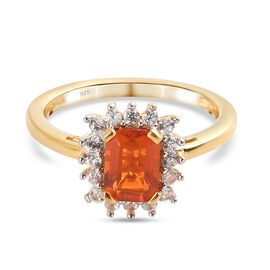 Extremely Rare  Jalisco Fire Opal and Natural Cambodian Zircon Ring in 14K Gold Overlay Sterling Sil