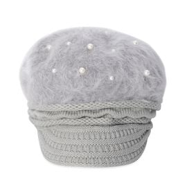 Faux Fur Simulated Pearl Woven Design Hat (Size 50 Cm) - Grey
