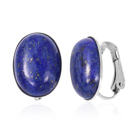 Lapis Lazuli (Ovl) Clip On Earrings in Stainless Steel