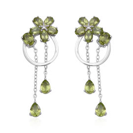 8.42 Ct Hebei Peridot and Zircon Floral Dangle Earrings in Rhodium Plated Sterling Silver