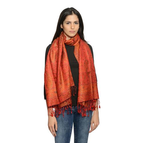 SILK MARK - 100% Superfine Silk Burnt Ochre, Orange and Multi Colour Floral and Paisley Pattern Jacq