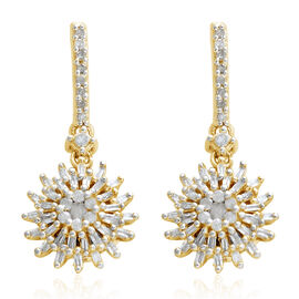 Diamond (Rnd and Bgt) Earrings (with Push Back) in 14K Gold Overlay Sterling Silver 0.500 Ct.