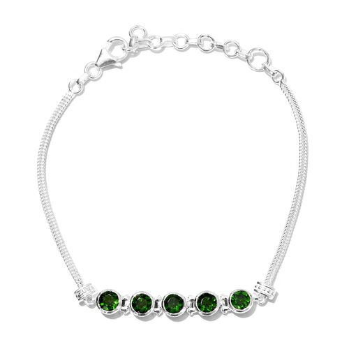 Russian Diopside Chain Bracelet (Size 7 with 1.5 inch Extender) in Sterling Silver 2.50 Ct.