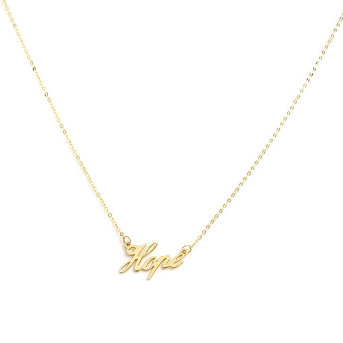 Italian Made - 9K Yellow Gold Hope Necklace (Size 18)