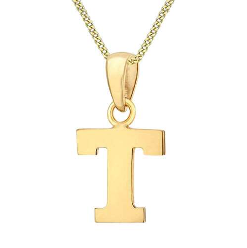 9K Yellow Gold Initial T Pendant