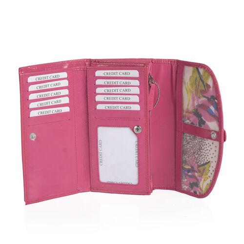 100% Genuine Leather RFID Fuchsia Colour Braided Buckle Design Tri-Fold Ladies Purse (Size 17x10x2 Cm)