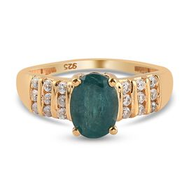 Grandidierite and Natrural Cambodian Zircon Ring in 14K Gold Overlay Sterling Silver 1.61 Ct.